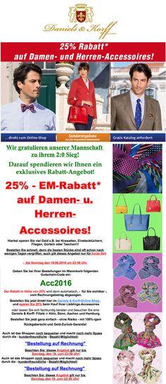 25 % – EM - Rabatt auf Damen- und Herren-Accessoires! – http://www.daniels-korff.de