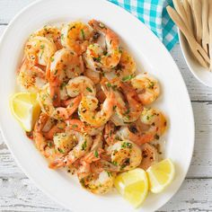 Garlic shrimp. Very good. I used dried parsley and squeezed the juice of one lemon in at the end. Served this with baked garlic rice, cheddar bay biscuits, and a green salad. Red Lobster has nothing on me!! (trb)