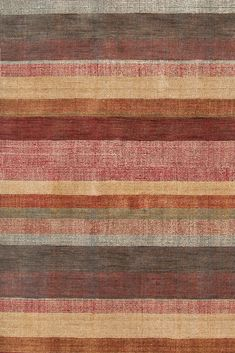 The lush Stonover Stripe Hand-Knotted rug from Dash and Albert in rich shades of rust, cinnamon, sand, and teal, makes a statement in any room. Hand Knotted Rugs, Woven Rug, Cottage Rugs, Rug Placement, Dash And Albert, Striped Rug, Striped Style, Types Of Flooring, Indoor Outdoor Rugs