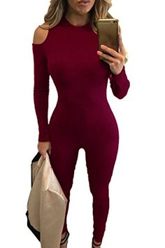 00c4d7492d0 Womens Sexy Bodycon Jumpsuits Long Sleeve Cold Shoulder Rompers Jumpsuits M     Learn more by