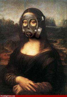 Gas Mask on Mona Lisa