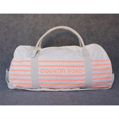 Country Road Tote Bag - Orange Thin Stripe - Promotional Offers- - TopBuy.com.au