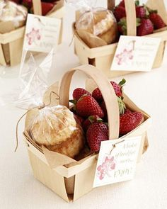 Wedding favor idea: Tomorrow's breakfast in a basket.