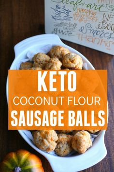 Keto Coconut Flour Sausage Balls Recipe- perfect for anyone with an almond flour allergy. These keto coconut flour sausage balls are easy to make and are perfect for the holidays! lchf, atkins, paleo, clean eating, low carb appitizer holiday recipes | ketosizeme.com