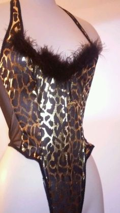 d5f3b19460e7 Vintage SHIRLEY OF HOLLYWOOD Glam Teddy Feathered Bodysuit Metallic Blk  Gold S #ShirleyOfHollywood Bodysuit,