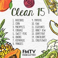 """Do you know your clean fifteen? Of the fruit and vegetable categories known and tested, the following """"Clean 15"""" produce have the lowest pesticide load, and consequently are the safest conventionally grown crops to consume from the standpoint of pesticide contamination."""