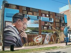 "The Murals of Winnipeg, Manitoba, Canada: ""Bill Norrie: Legacy of Leadership"" located at 538 Ellice Ave in Winnipeg, MB Outdoor Art, Canada Travel, Historical Sites, Continents, Murals, Leadership, Tourism, Fair Grounds, Scene"