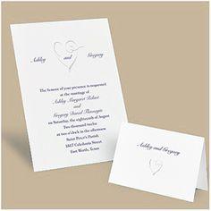 Silver Foil Swirl Heart Design Invitation Hi-white non-folding invitation card with silver foil swirl heart design. Discount Wedding Invitations, Heart Wedding Invitations, Wedding Stationery, Invitation Design, Invitation Cards, Design Trends, Place Card Holders, Elegant, Wedding Ideas