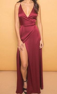 Burgundy V-Neck Cheap Evening Dresses Spaghetti Straps Popular Long Prom Dresses with Side Slit