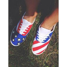 Glow-In-The-Dark American Flag Shoes by MakeItCraftyShop on Etsy