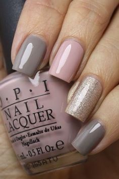 these colors> I am wearing OPI French Quarter For Your Thoughts on my pointer and pinky fingers. On my middle finger I have on OPI My Very First Knockwurst and the glitter on my ring finger is Color Club Apollo Star.