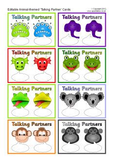 Editable talking partner cards - animals - SparkleBox Could make them fill in the blank wh or opposites Esl Speaking Activities, Free Teaching Resources, Teacher Resources, Partner Talk, Partner Cards, Daily Five, Class Displays, Ourselves Topic, Converse