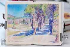 Color pencils, watersolor and gouache on gesso background on Moleskine Sketchbook Inspiration, Art Sketchbook, Fashion Sketchbook, Pencil Sketches Landscape, Color Pencil Sketch, Colored Pencil Artwork, Background Drawing, Principles Of Art, Urban Sketching
