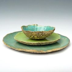 rustic stoneware dinnerware handmade Organic Soul 3 piece set MADE TO ORDER only