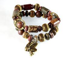 Red Creek Jasper Bracelet Set Antique Gold by NancysCrystalFantasy