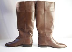 brown leather boots size 8 by VintageCommon on Etsy, $75.00