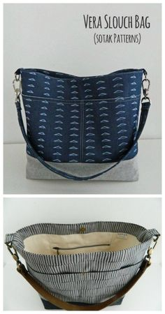 Perfect for your everyday bag with pockets inside and out classy styling fabric options and a single shoulder strap. The post Vera Slouch Bag Pattern 2019 appeared first on Bag Diy. Beginner Sewing Patterns, Bag Patterns To Sew, Sewing Tips, Sewing Tutorials, Sewing Hacks, Handbag Patterns, Purse Pattern Sewing, Quilted Purse Patterns, Purse Patterns Free