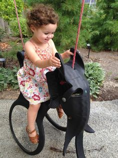 Re-purposed elephant tire swing!
