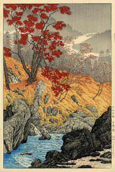 hanga gallery . . . torii gallery: Nembutsu Pool, Nikko in Autumn by Takahashi Shotei