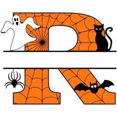 Free Halloween Monogram Clip art Alphabet letters that you can personalize with your name. Halloween Letters, Halloween Stencils, Halloween Clipart, Halloween Projects, Halloween Art, Monogram Stencil, Monogram Maker, Monogram Letters, Alphabet Letters