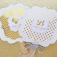 Add some glamour to your summer wedding with our Personalized Metallic Foil Paddle Wedding Fans.