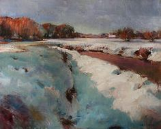 Sneeuwlandschap   schilderij van een landschap in olieverf van Hans Musters   Exclusieve kunst online te koop in de webshop van Galerie Wildevuur