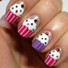 Are you ready to make your hands lovely looking with the cupcake nail art designs? Get Nails, Love Nails, Pretty Nails, Hair And Nails, Little Girl Nails, Girls Nails, Girls Nail Designs, Nail Art Designs, Nail Diamond