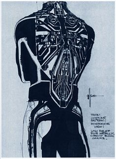 Syd Mead - TRON 1982 costume pattern sketch - posterior view