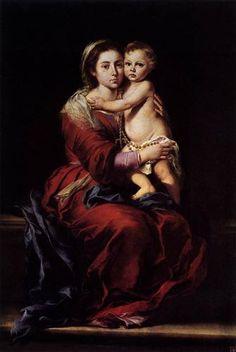 The Virgin of the Rosary - Bartolome Esteban Murillo.  1650.  Oil on canvas.  164 x 110 cm.  Galleria Palatina, Palazzo Pitti, Florence, Italy.