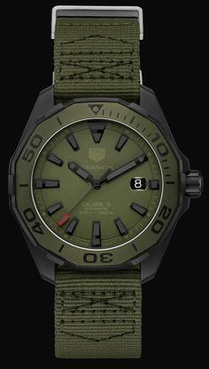 TAG Heuer Aquaracer 300 Caliber 5 Watches In Khaki & Camo Watch Releases Dream Watches, Sport Watches, Luxury Watches, Amazing Watches, Cool Watches, Watches For Men, Tag Heuer, Skeleton Watches, Swiss Army Watches