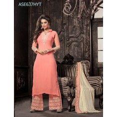 Eid Special Designer Peach Georgette Palazzo Style Salwaar Suit-ASE637HYT ( ARTI-522 )Karishma