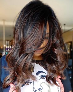 Honey blond to the rescue! If your platinum blond style is frying your hair, go Brunette Color, Balayage Brunette, Dark Brunette, Balayage Hair Dark Black, Black Ombre, Highlights For Black Hair, Auburn Highlights, Dark Brown Hair With Highlights And Lowlights, Dark Brown Hair With Caramel Highlights
