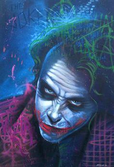 Joker by Heng Leng http://www.hengone.com/ Aerosol on wood portraits.