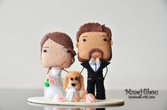 CUSTOM WEDDING TOPPER - Wedding Cake Topper With Pets by MmeHibou