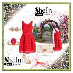 """Red Sleeveless Striped Dress in Sheinside!"" by maja9888 ❤ liked on Polyvore featuring Jill Malek, Casadei, Henri Bendel and Splendid Pearls"