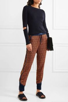3.1 PHILLIP LIM Silk satin-trimmed jacquard tapered pants