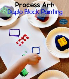 Process art like our Duplo Block Painting is an open-ended activity where the focus is on how it is created instead of what it will looks like.