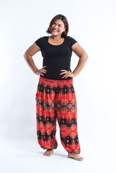 Plus Size Paisley Women's Harem Pants in Red