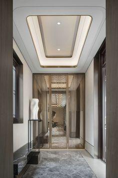 Marvelous Home Corridor Design Ideas That Looks Modern - Ceiling design Interior Ceiling Design, Ceiling Design Living Room, False Ceiling Design, Office Interior Design, Luxury Interior Design, Modern Ceiling Design, Lobby Design, Design Hotel, House Design
