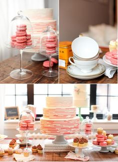 Cake, Macaroons, Teacups, Coral