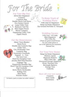 Thirty-One Products to help with wedding planning!  Most products still available others have been replaced with bigger and better products!