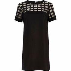 Black caged mesh t-shirt dress $84.00