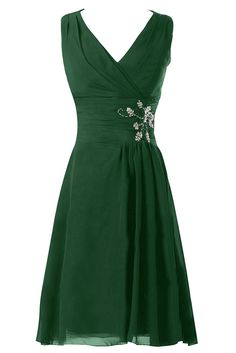 Sunvary V Neck Knee Length Chiffon Bridesmaid Prom Dresses for Wedding Size 2- Dark Green