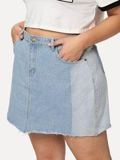 24ce3d057da Shop Plus Two Tone Raw Hem Denim Skirt online. SheIn offers Plus Two Tone  Raw Hem Denim Skirt   more to fit your fashionable needs.