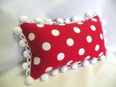 Red and White Polka Dot Lumbar Pillow. $20.00, via Etsy.