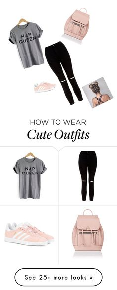 """Cute outfit"" by nikolina1017 on Polyvore featuring New Look, adidas Originals and Accessorize"