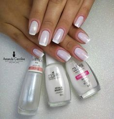 48 Ideas for gel manicure short square Nails Polish, Shellac Nails, Manicure And Pedicure, Acrylic Nails, Natural Nail Designs, Pink Nail Designs, Nails Design, Pretty Nail Colors, Pretty Nails