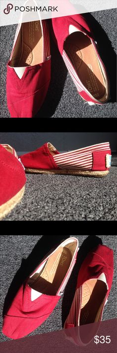 Red Toms flats Size 8.5 red Toms. Red and white strips on the sides and solid red in the front and back. Receive as a gift, I don't wear red. Worn twice; both to the grocery store. No wear inside of shoes, just at the bottom of the souls from walking on them. TOMS Shoes Flats & Loafers