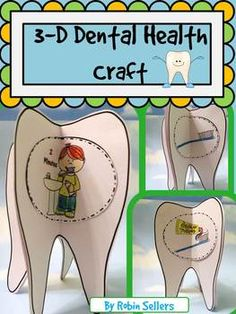 Dental Health Craft: Create a 3-D Tooth Brushing Sequencing 3D Craftivity when you teach about brushing teeth with this So Sweet Craft during your next dental health unit. This craft is perfect to reinforce the topics taught during this health lesson and it works well as a center too.