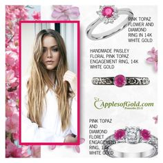 """""""Pink Topaz Rings - ApplesofGold.com"""" by applesofgoldjewelry ❤ liked on Polyvore featuring Apples of Gold"""